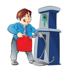 man pumping gasoline into a container vector image
