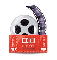 reel filmstrip with ticket to short film vector image vector image