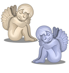 Sculpture angel baby serene figurine isolated vector