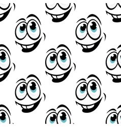 Seamless background pattern of cartoon happy faces vector image vector image