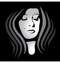 womans face on dark background vector image vector image