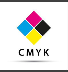 abstract logo in the shape of a diamond with cmyk vector image vector image