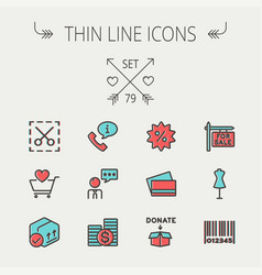 business shopping thin line icon set vector image