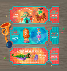 cartoon circus show invitation tickets set vector image vector image