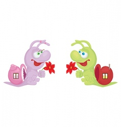 cartoon snails vector image vector image