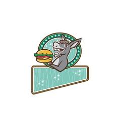 Donkey mascot serve burger rectangle oval retro vector