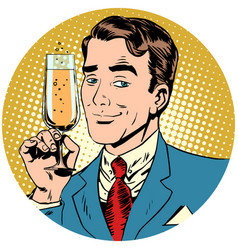 Nice man with a glass of champagne sparkling wine vector