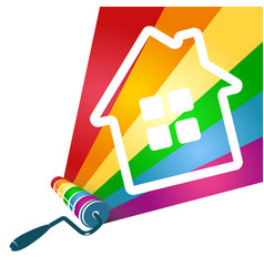 roller with paint and house vector image