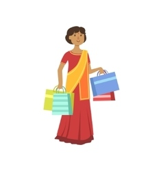 Woman In Indian Sari In Shopping Mall vector image vector image