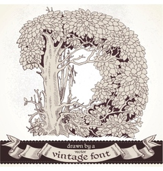 Fable forest hand drawn by a vintage font - d vector