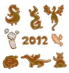gingerbread dragon cookies vector image vector image