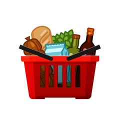 grocery shopping basket store food and drinks vector image vector image