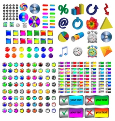 icons and buttons vector image vector image