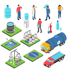 water purification isometric icons set vector image vector image
