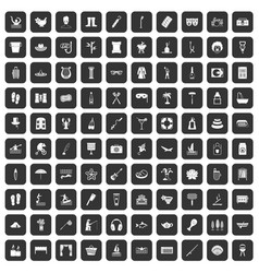100 recreation icons set black vector