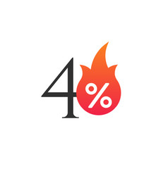 40 percent off with flame burning sticker vector image