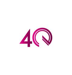 40 years anniversary celebration purple line vector