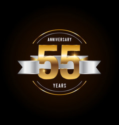 55 years anniversary celebration logotype golden vector image