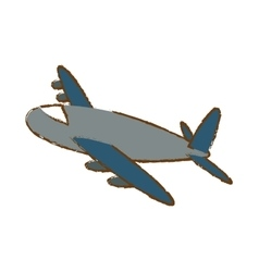 Airplane icon image sketch style vector