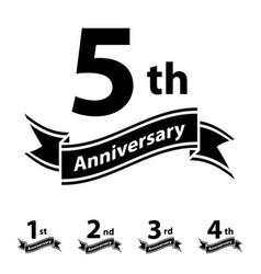 anniversary ribbon number 1 2 3 4 5 vector image