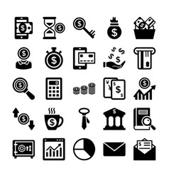 banking and finance line icons 7 vector image