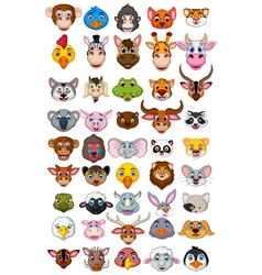 Big animal head cartoon collection vector