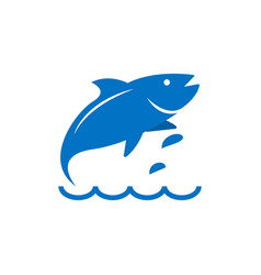 blue fish element graphic template vector image