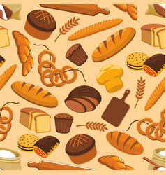 Bread bakery and pastry seamless pattern vector