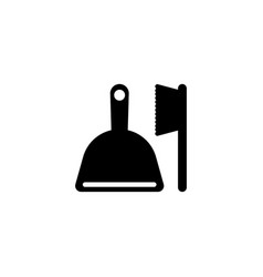 Broom and scoop flat icon vector