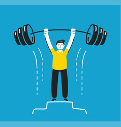 Businessman holding barbell business vector