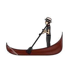 carton gondolier rowing a gondola vector image