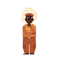 Cartoon adult african black man thinking vector