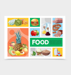 cartoon colorful food infographic template vector image