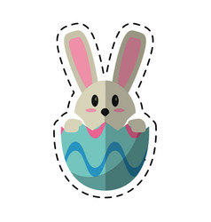 cartoon easter bunny in egg surprise vector image