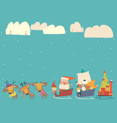 cartoon sleigh with santa claus and animals vector image