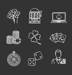 Casino chalk icons set vector