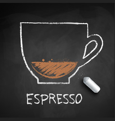 Chalk drawn sketch of espresso coffee vector