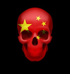 Chinese flag skull vector