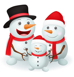 Christmas snowman family vector