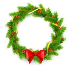 Christmas wreath fir branches red berries vector