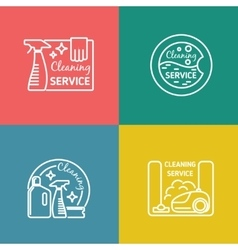 Cleaning service labels in linear design style vector
