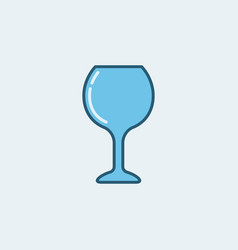 colorful wine glass blue icon vector image