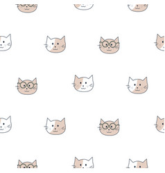 cute cats kids seamless pattern child animal pet vector image