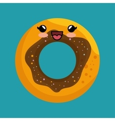 Cute kawaii donut sweet desert icon vector