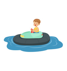 cute little boy riding boat kid have a fun in vector image
