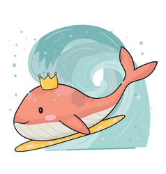 cute pink whale on surfboard surfing in big wave vector image