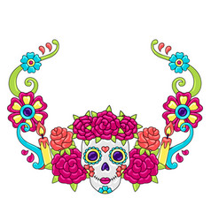 day dead decoration sugar skulls with vector image