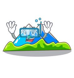 Diving miniature mountain in the character form vector