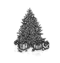 dotwork christmas tree vector image