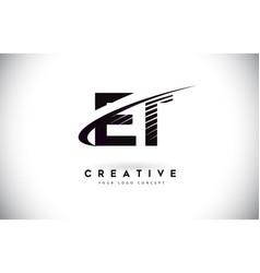 Et e t letter logo design with swoosh and black vector
